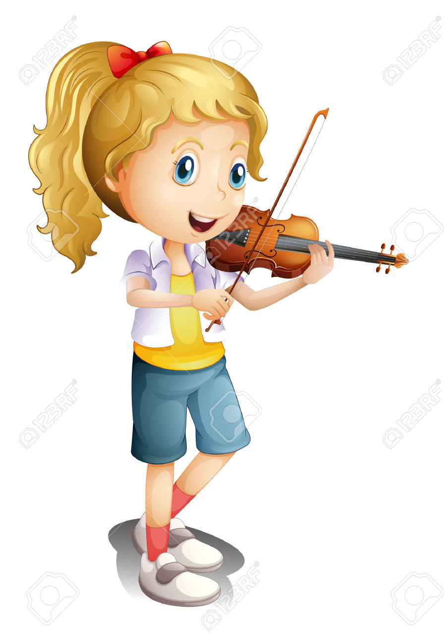 Kids playing violin clipart free.