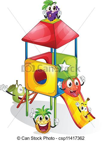 Clip Art Vector of fruits and plaything.