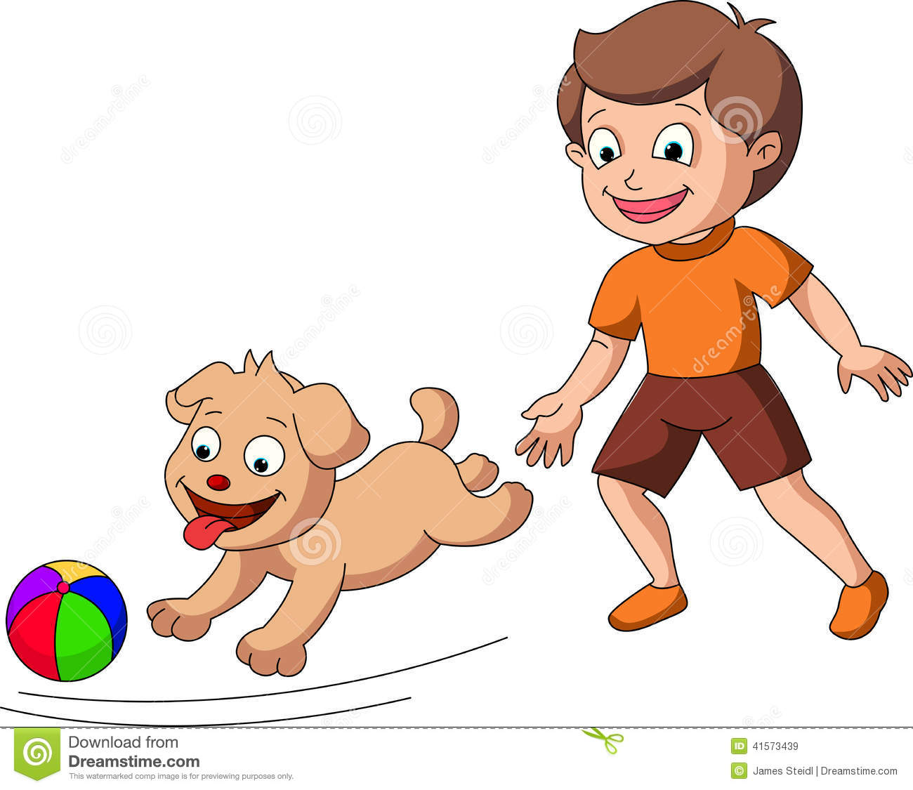 Boy Playing With Dog Clipart.