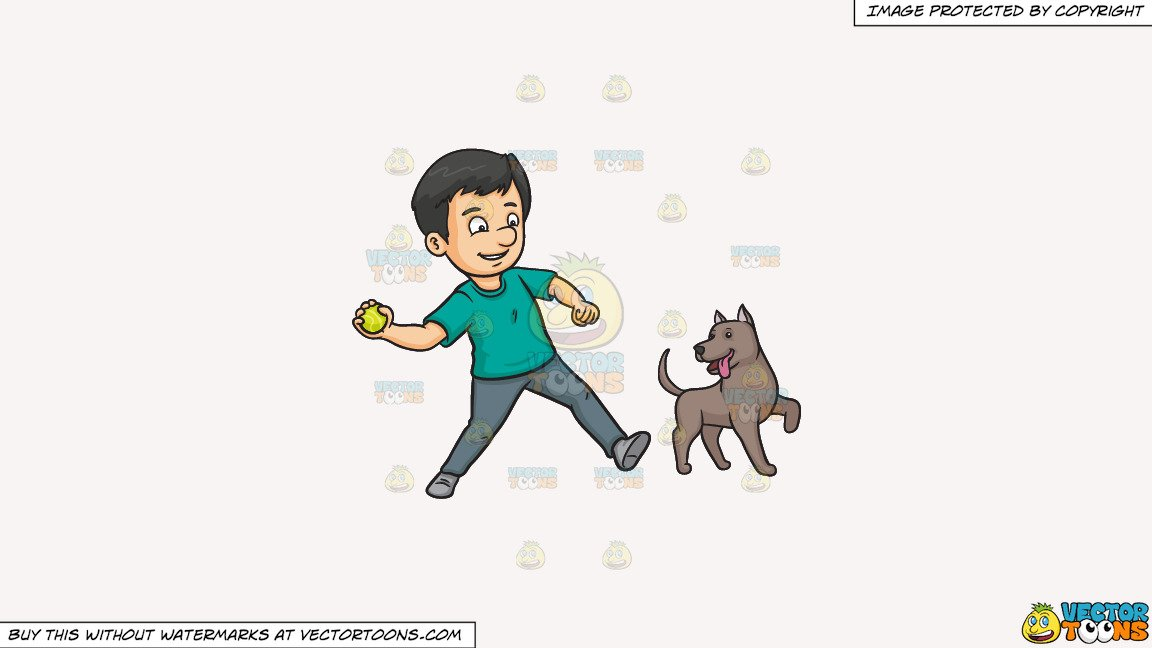 Clipart: A Man Throwing A Ball To Play With His Dog on a Solid White Smoke  F7F4F3 Background.