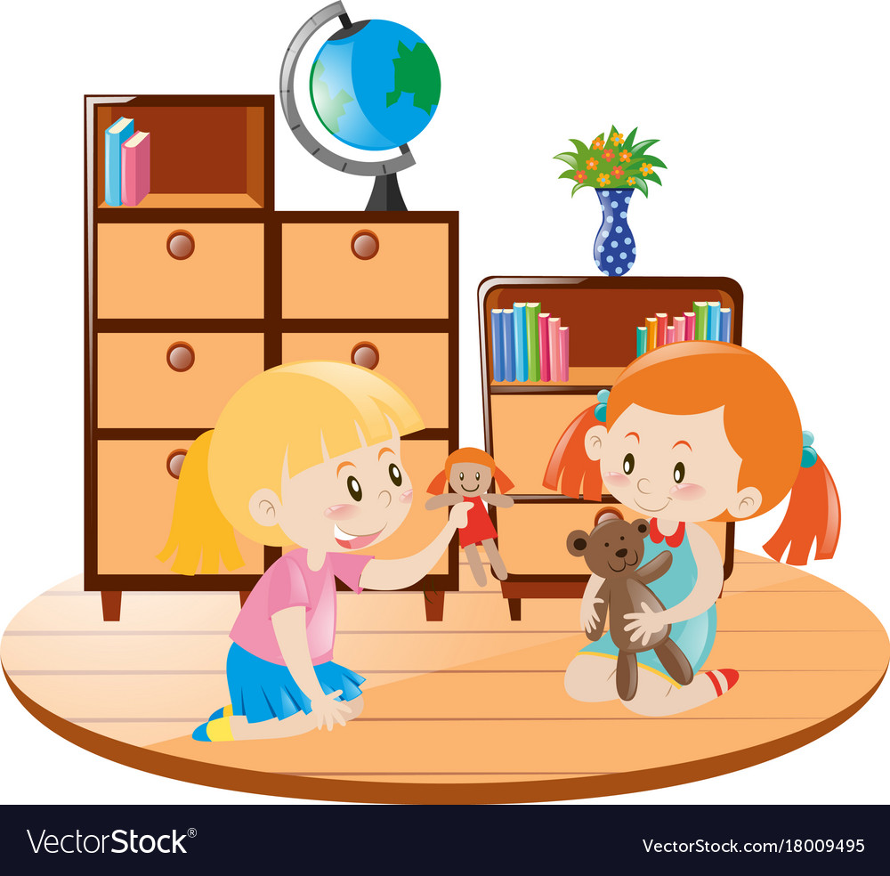 Two girls playing dolls in the room.