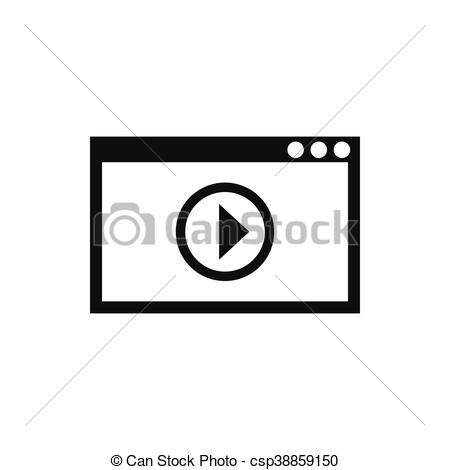 Clipart Vector of Program for video playback icon, simple style.
