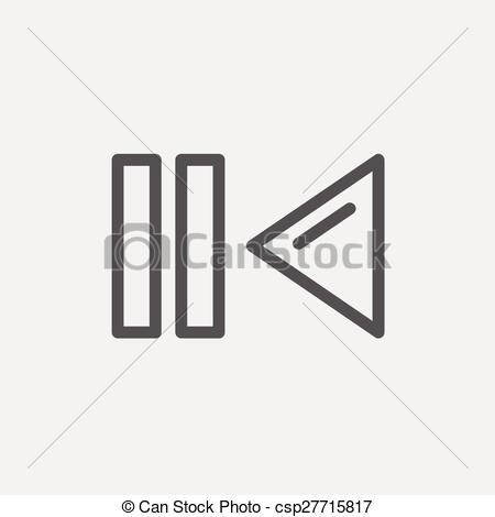 Vector Clip Art of Pause and playback button thin line icon.