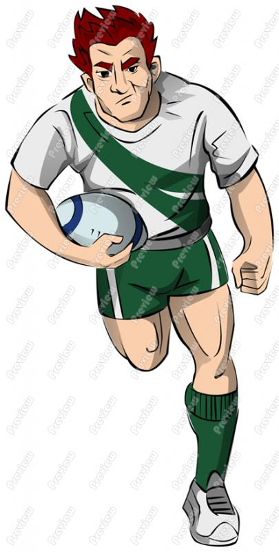 Rugby Player Character Clip Art.