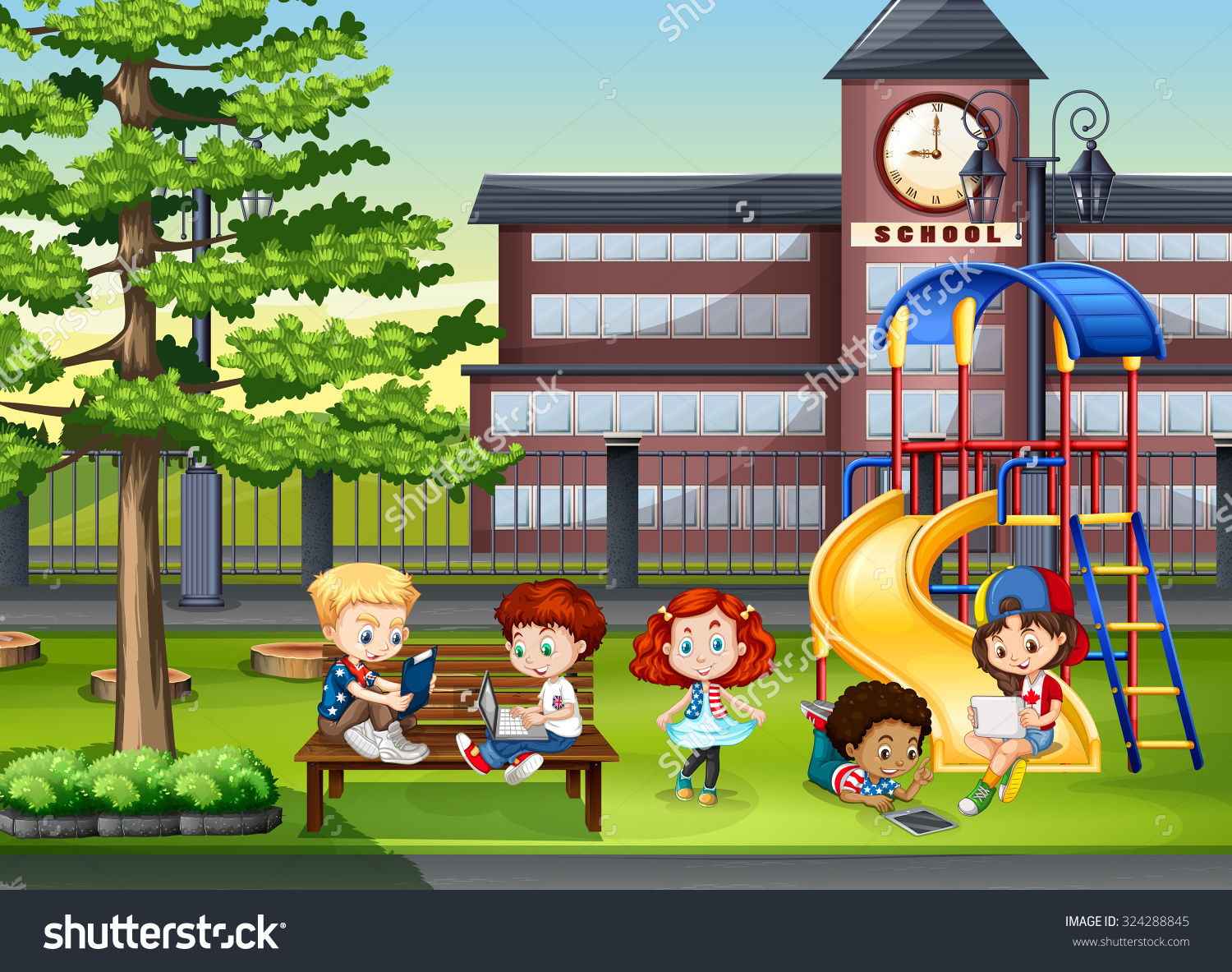 playground at a school clipart