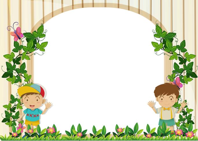 Border design with boys in the garden.