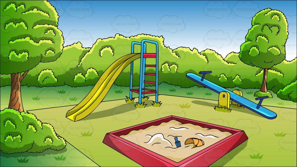 An outdoor playground background #cartoon #clipart #vector.