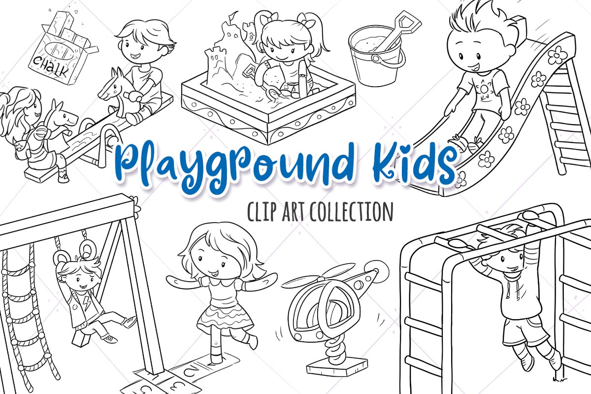 Playground Kids Black and White ~ Illustrations ~ Creative.