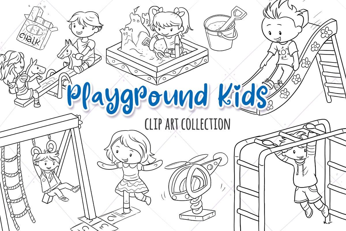 Playground Kids Black and White ~ Illustrations ~ Creative.