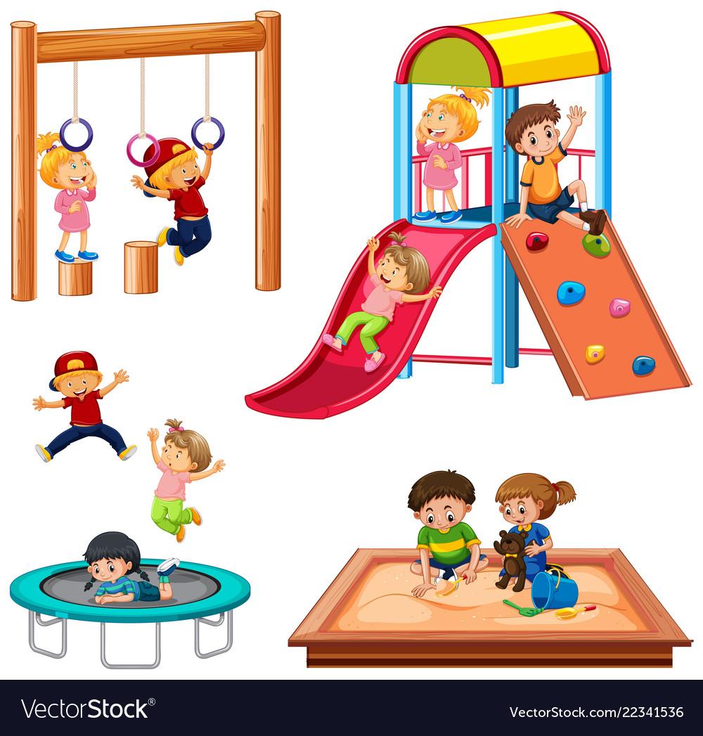 Set of children playing playground equipment.
