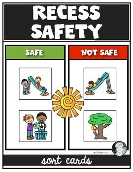 Recess Playground Safety Sorting Cards for Kindergarten.