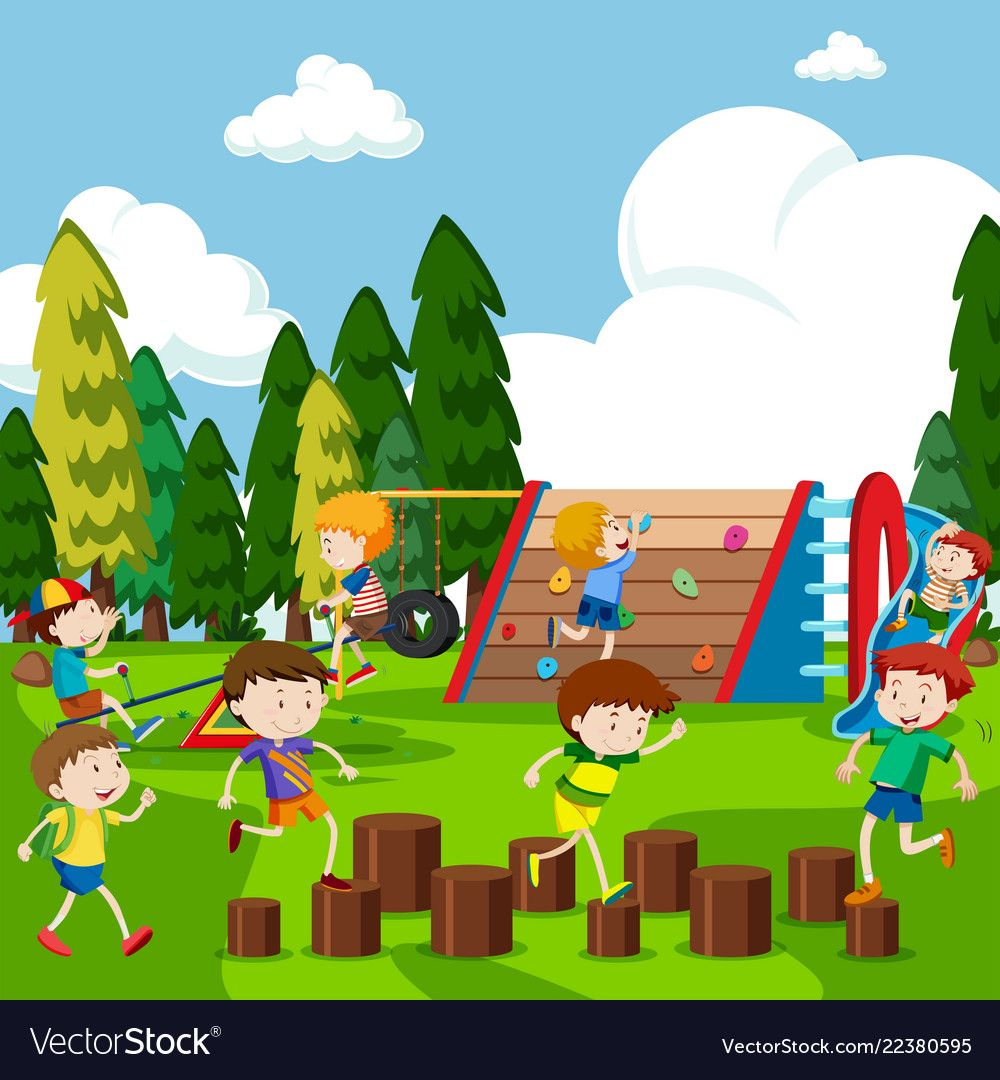Kids having fun in park Royalty Free Vector Image.