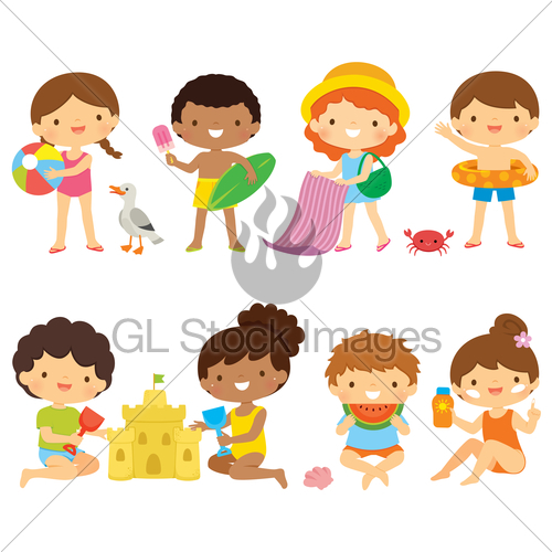 Kids At The Beach Clipart Set · GL Stock Images.