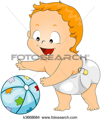 Drawings of Baby playing with Ball k3668684.