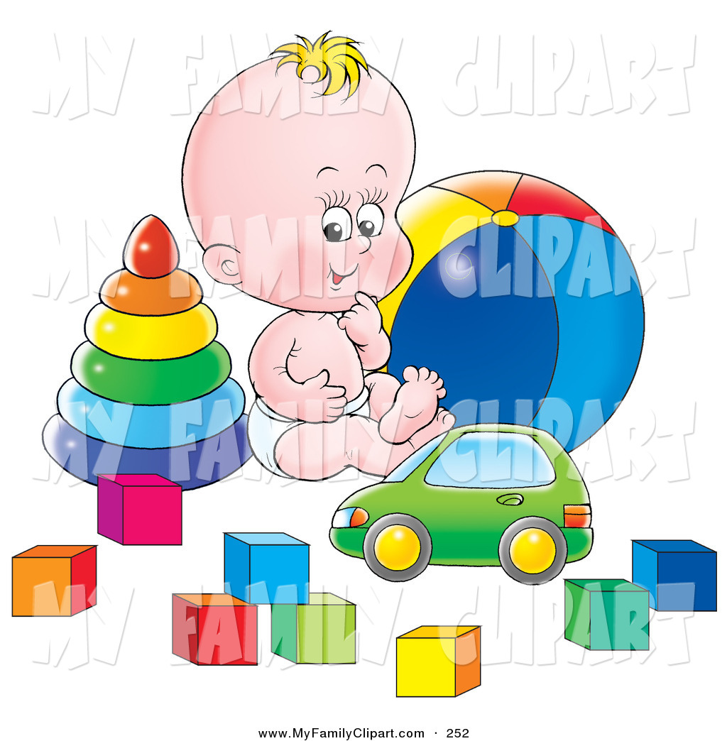 Clip Art of a Cute and Happy Baby in a Diaper, Sitting on the.