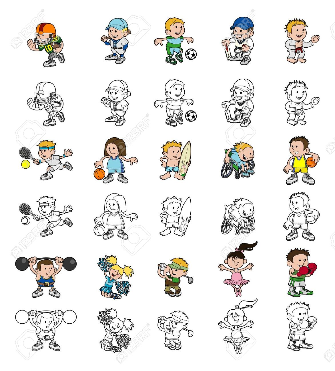A Set Of Cartoon People Or Children Playing Sports Color And.