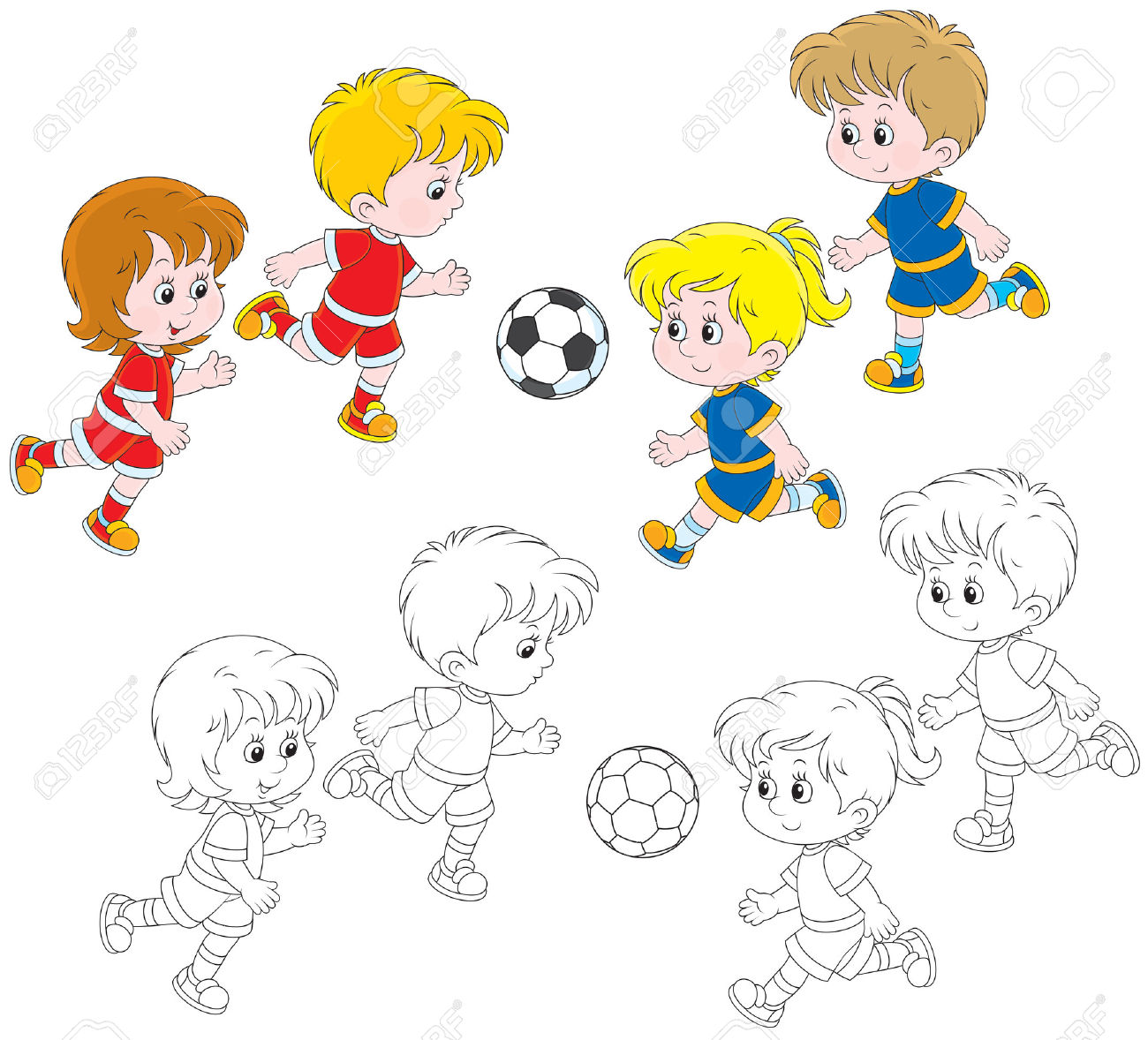 playing children outline clipart clipground
