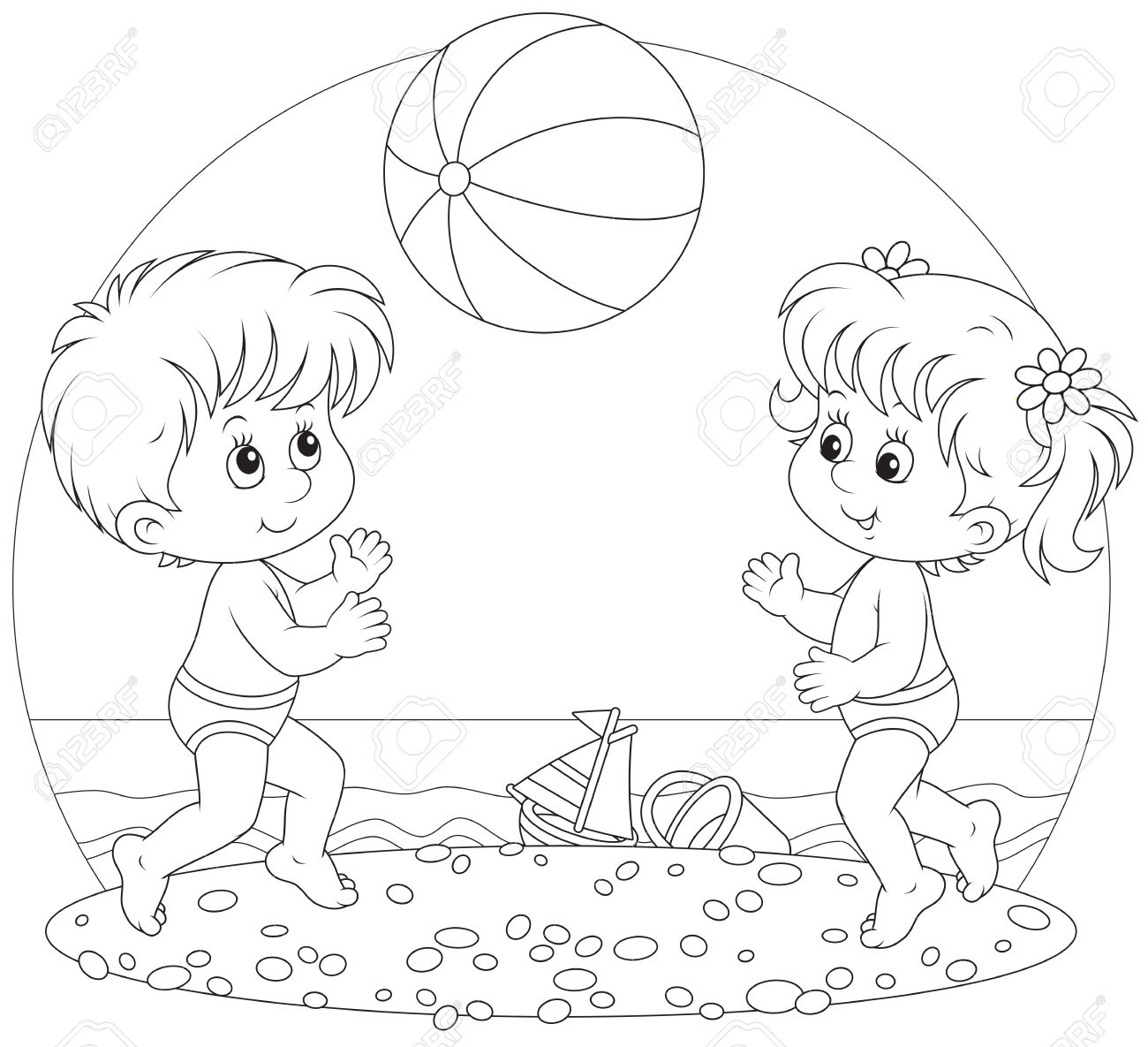 Children Play A Ball On A Beach Royalty Free Cliparts, Vectors.
