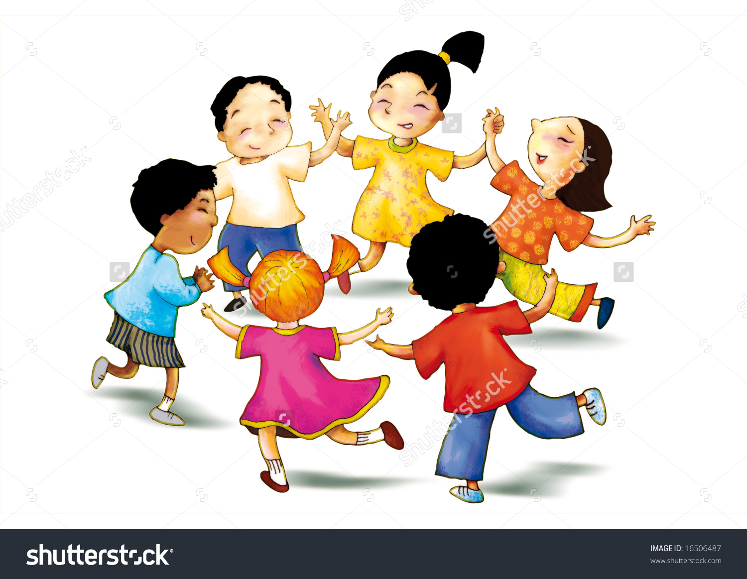 Concept Illustration Children Play Together Show Stock.
