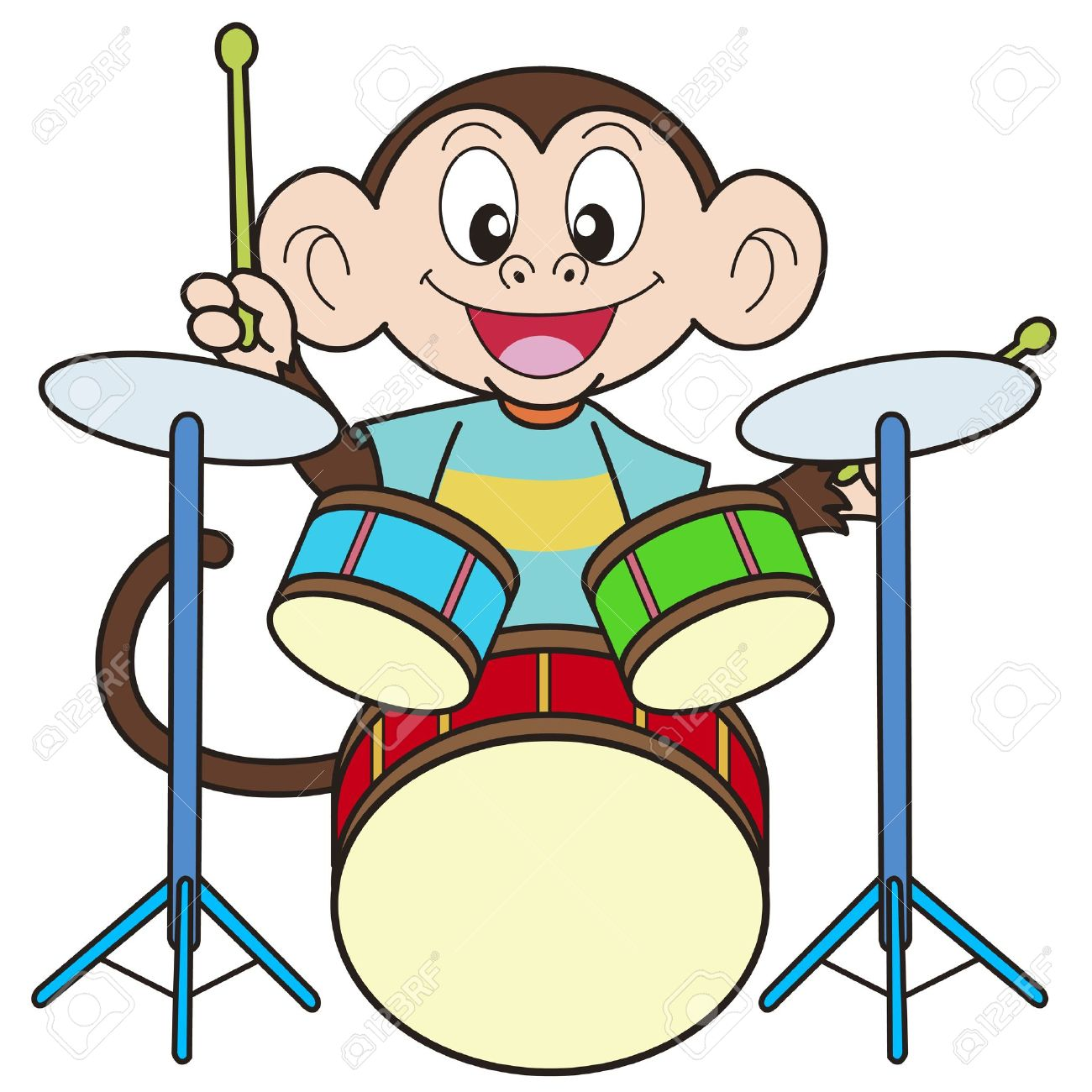 Cartoon Monkey Playing Drums Royalty Free Cliparts, Vectors, And.