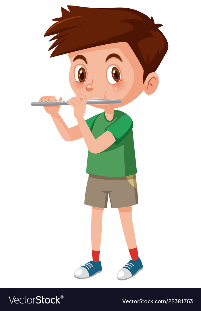 Boy playing flutes on white background.