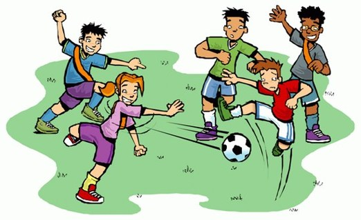 Playing Football Clipart.