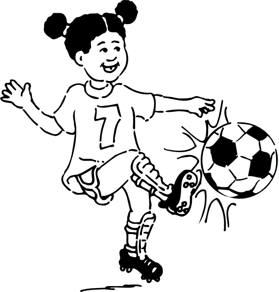 Girls playing football clipart.