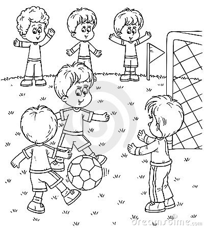 Boy Playing Football Clipart Black And White.