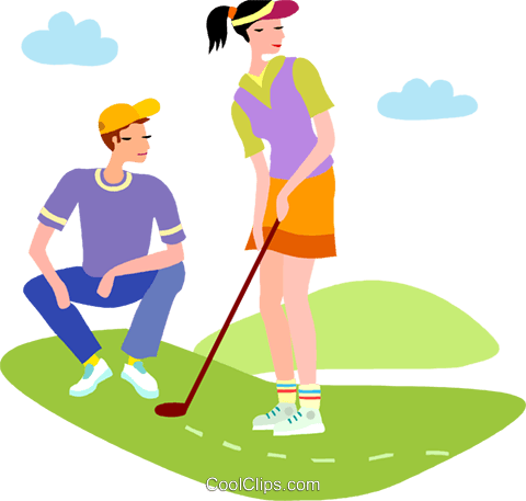Golf Vector Clipart of a Couple Playing Golf.