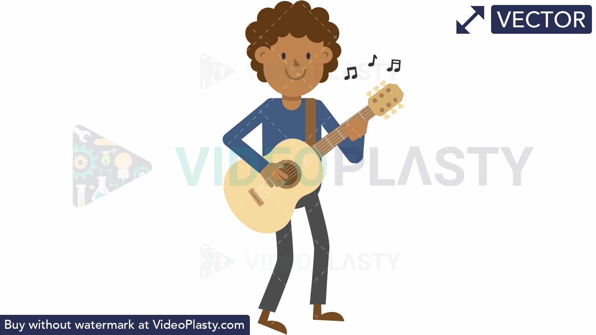 Black Man Playing Guitar Standing [VECTOR].