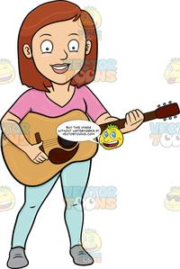 A Cheerful Woman Playing A Classic Guitar.