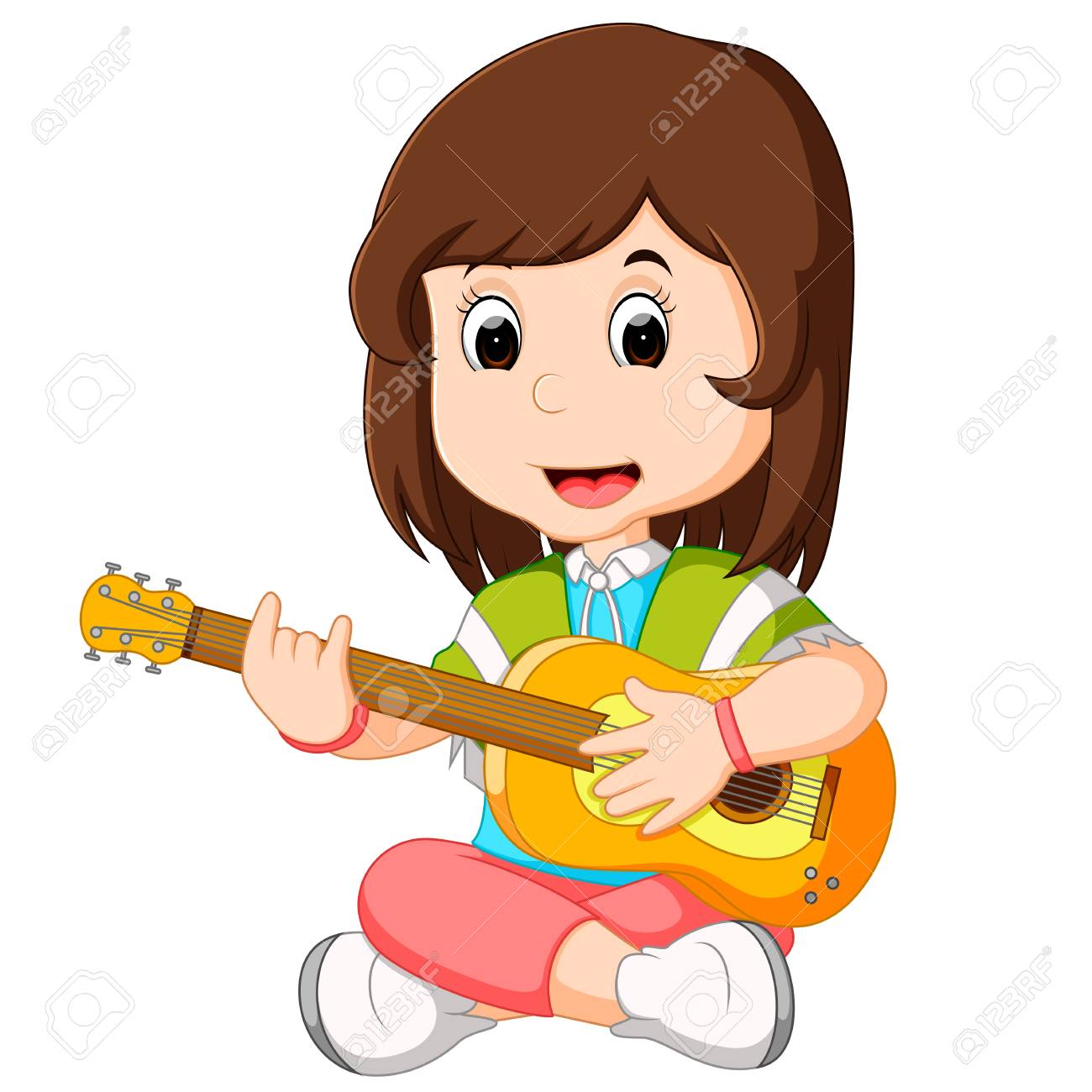 Girl playing guitar clipart 4 » Clipart Station.