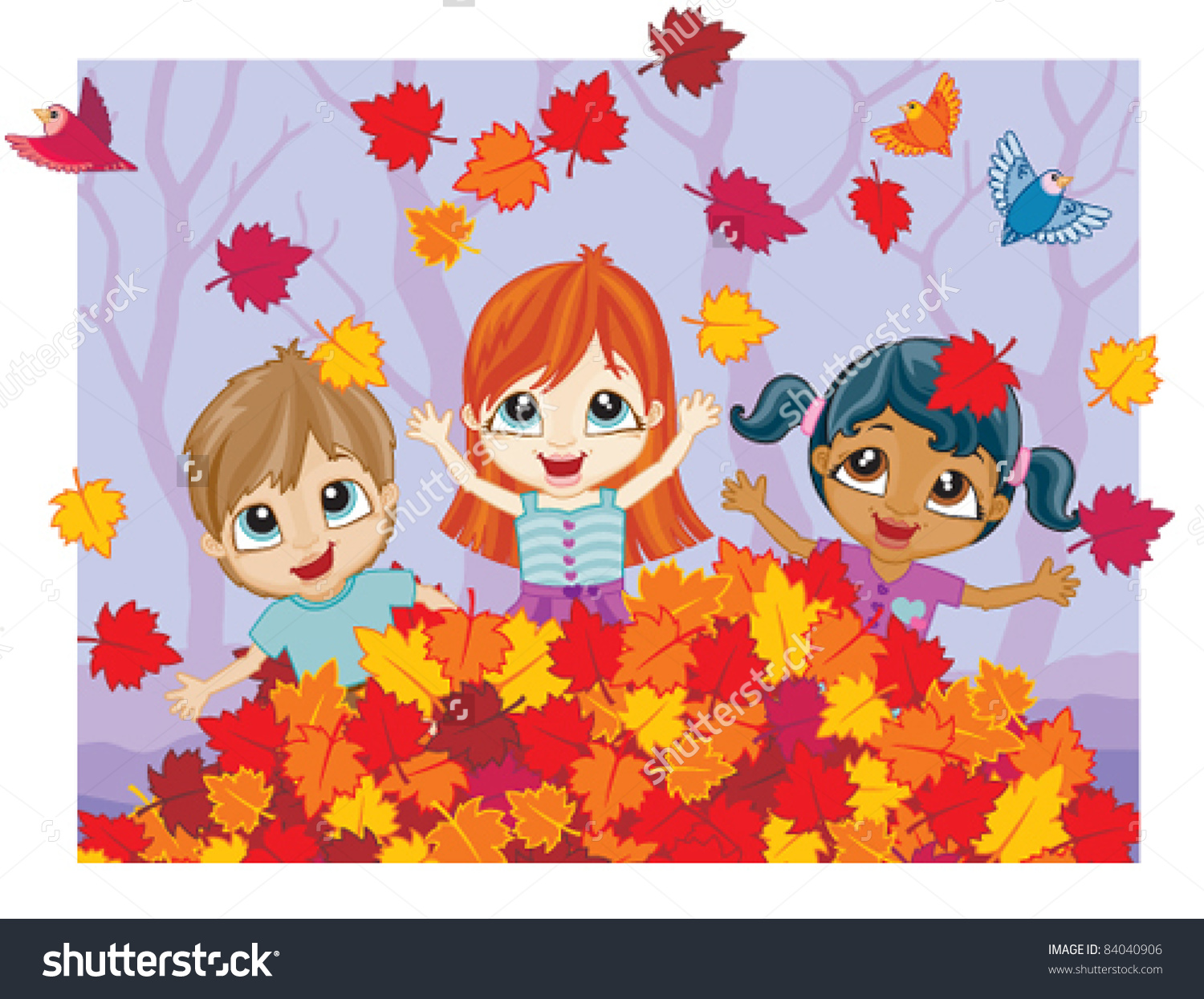 Children Playing In Leaves Clipart.