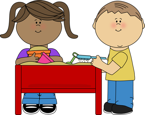 Kids Playing at a Sand Table Clip Art.
