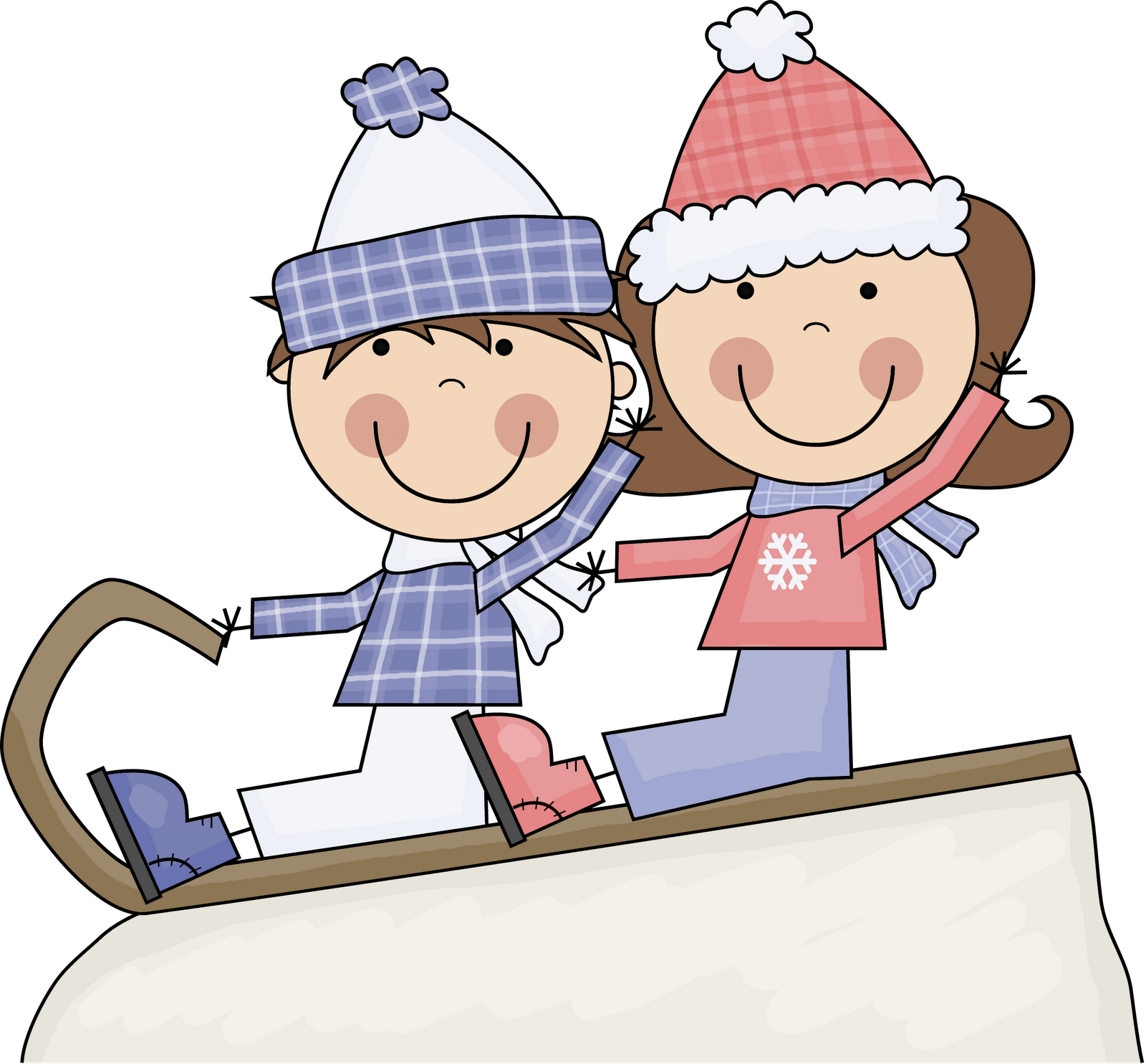 Kids playing in snow clipart clip art.