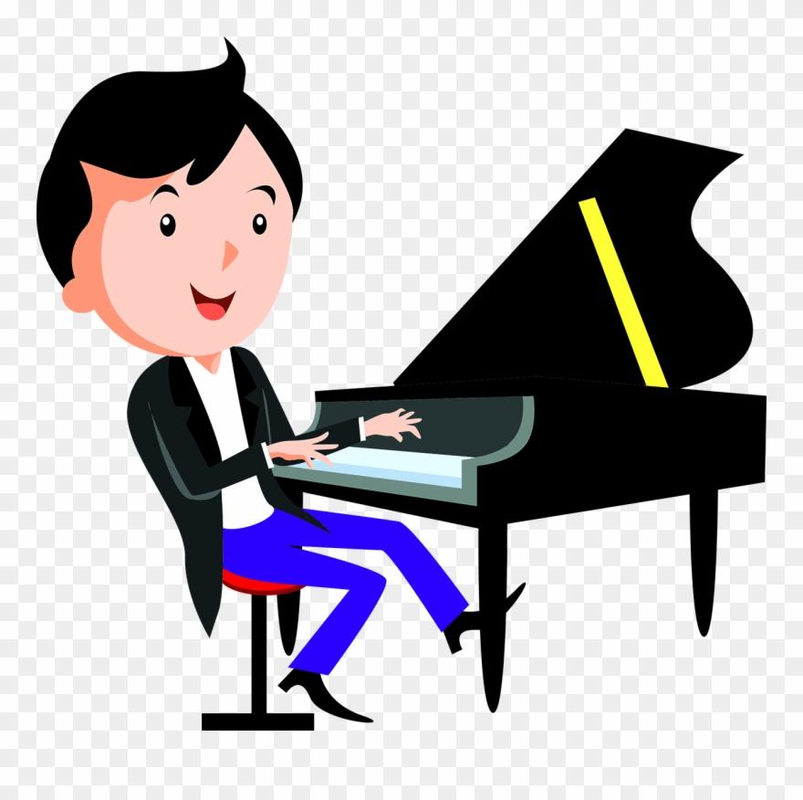Cartoon Piano Child Playing Piano.