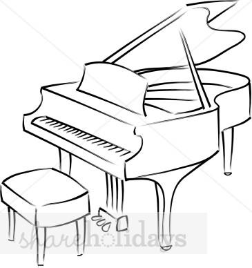 Black and White Grand Piano Clipart.