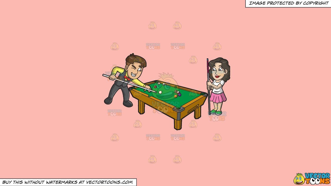 Clipart: A Man And Woman Playing Pool on a Solid Melon Fcb9B2 Background.