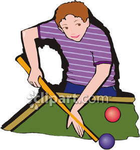 A Boy Playing Pool Royalty Free Clipart Picture.