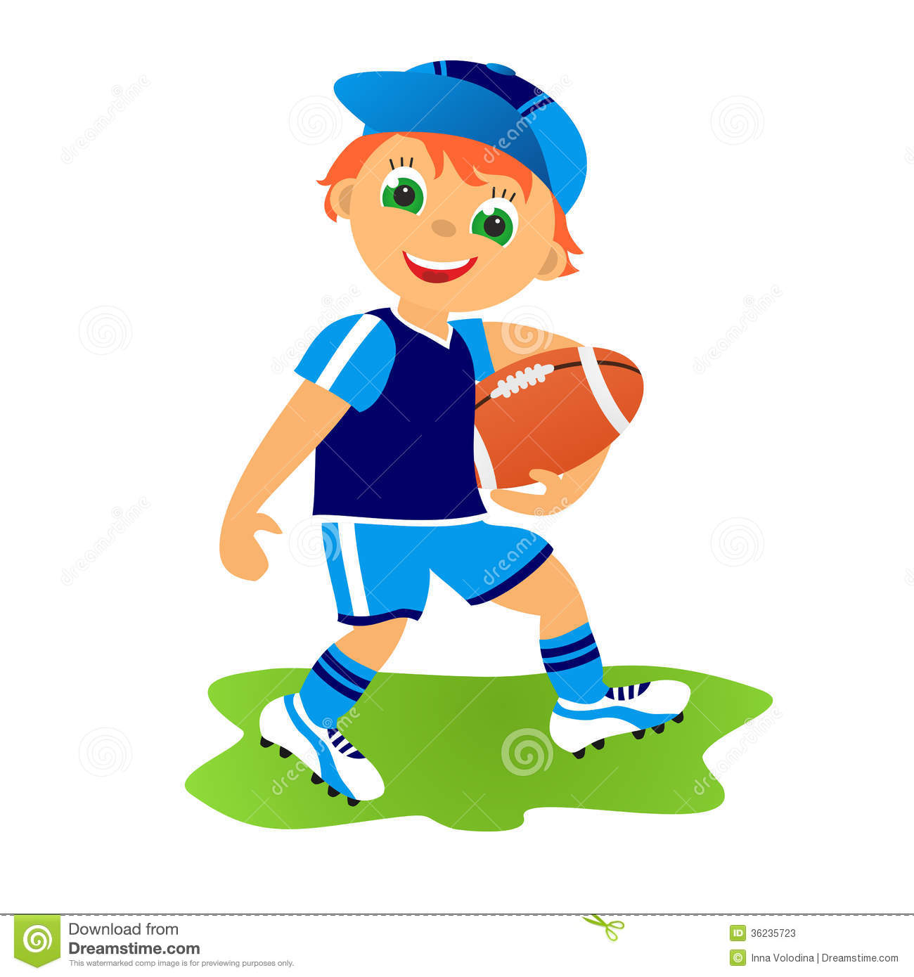 Boy Playing Rugby Clipart.