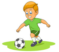 Clipart kids playing soccer.