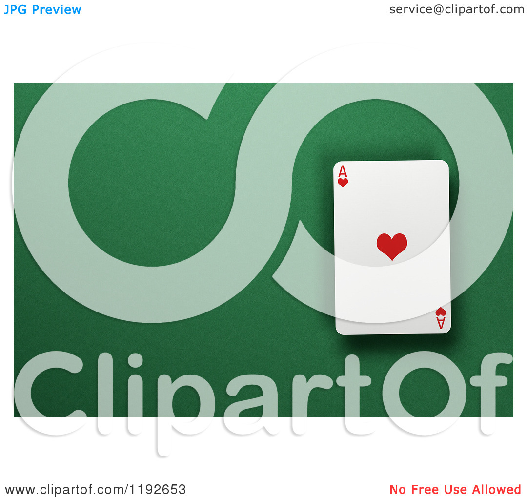 Clipart of a 3d Ace of Hearts Playing Card over a Green Felt.