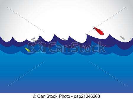 Clip Art Vector of blue wild ocean sea surface fish.
