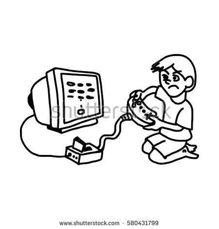 Play Computer Games Clipart Black And White.