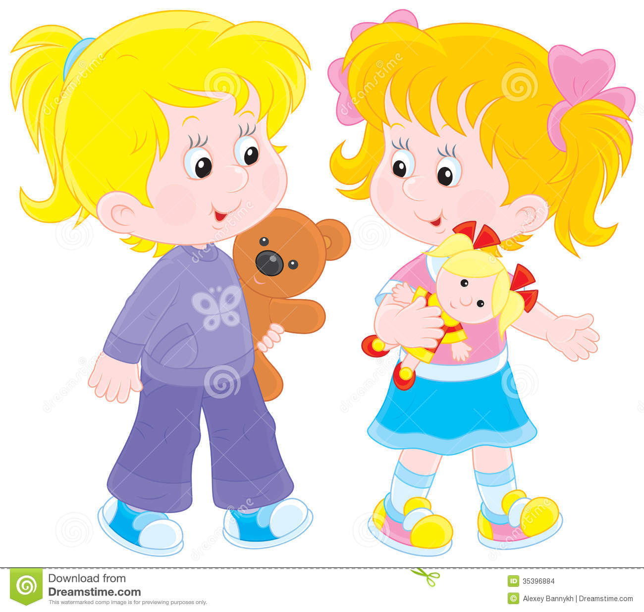 Little Girl Playing With Dolls Clipart.