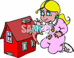 A Girl Playing with a Doll and Dollhouse.