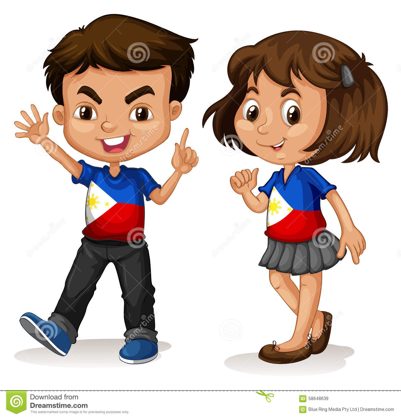 Philippines Boy And Girl Greeting Stock Vector.