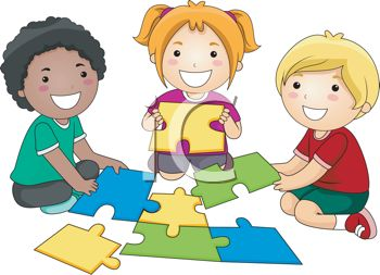 Children Putting Together a Puzzle.