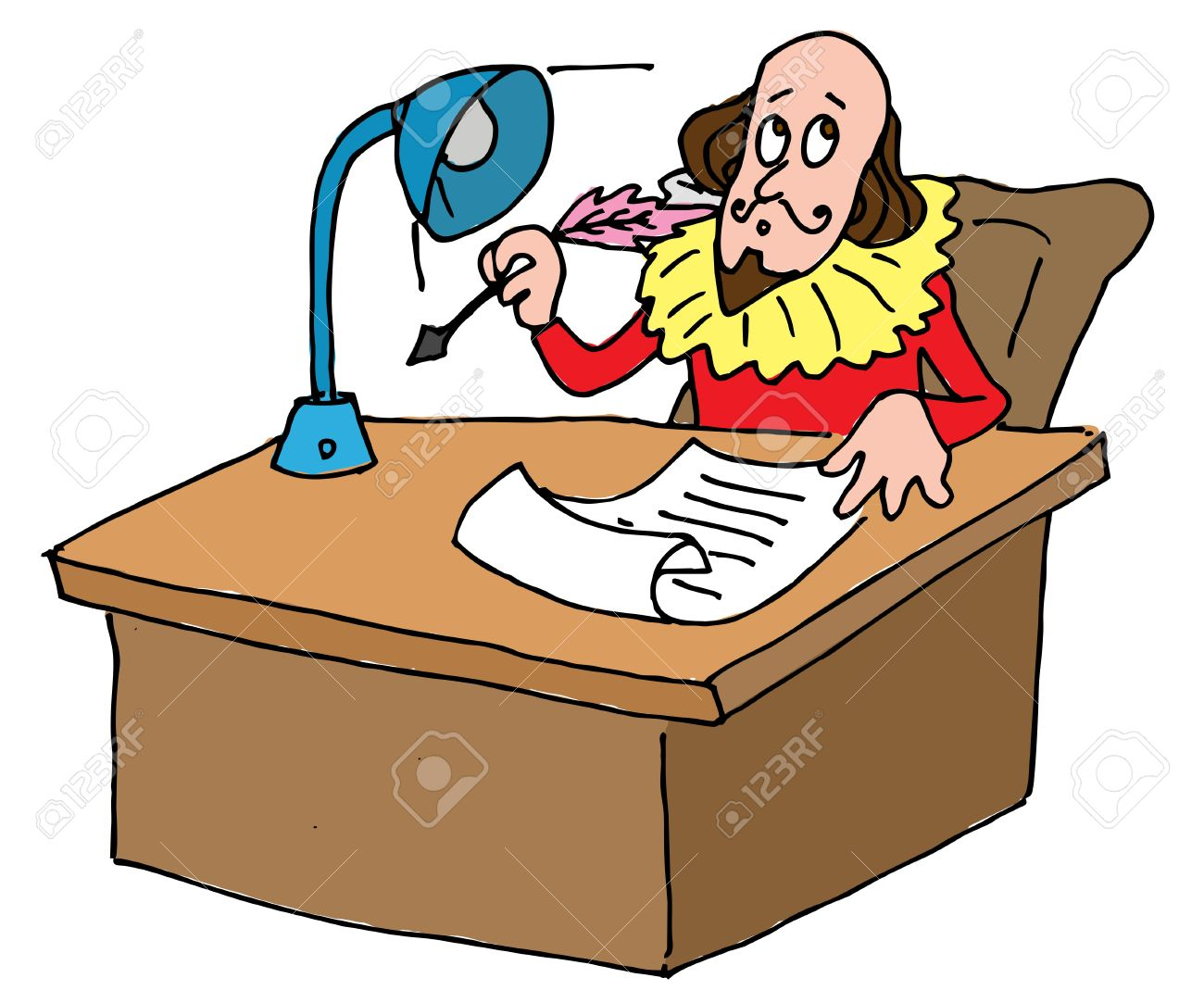 Illustrative Representation Of Shakespeare's Desk Royalty Free.