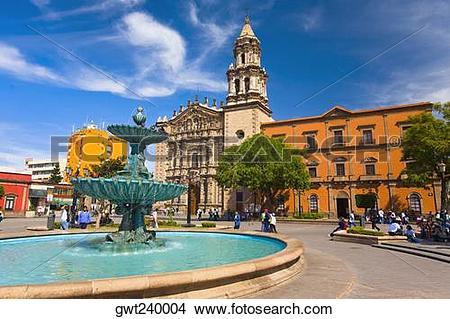 Stock Photo of Fountain at a town square, Plaza Del Carmen, San.